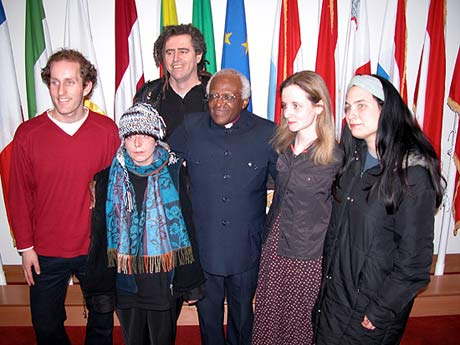 Ciaron and ploughshares activists with Desmond Tutu